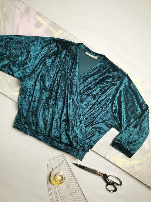 Teal Velvet Dream Wrap Top - Size M