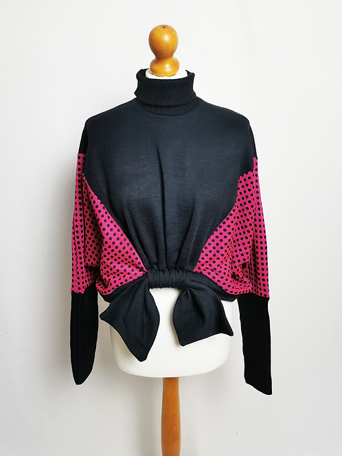 Navy and Hot Pink Roll Neck Loophole Jumper - Size S