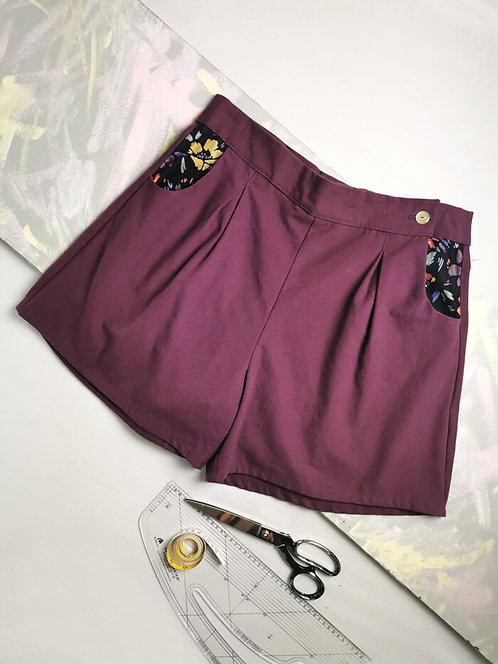 Plum High Waisted Shorts - Size 18