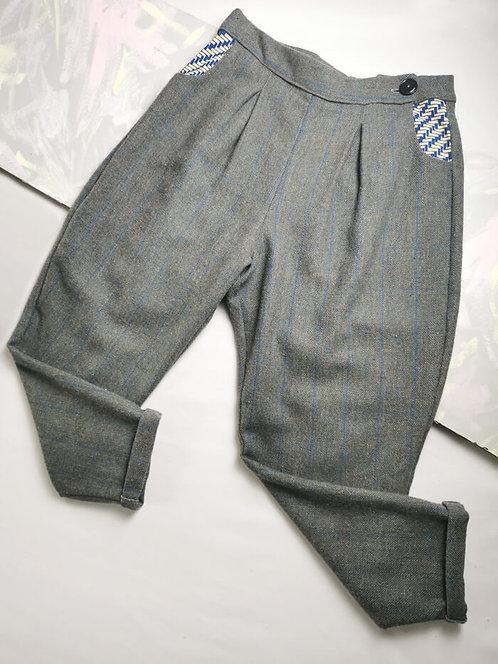 Grey Tweed Check Peg Leg Trousers - Size 16