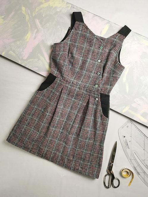 Pastel Check Pinafore Dress - Size 8