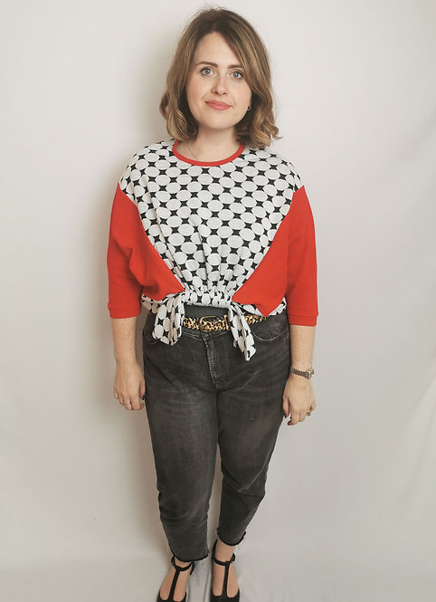 Red Circles Loophole Jumper - Size M
