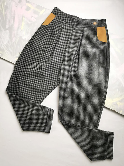 Grey Check Peg Leg Trousers - Size 10