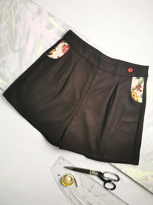Wine Wool High Waisted Shorts - Size 12