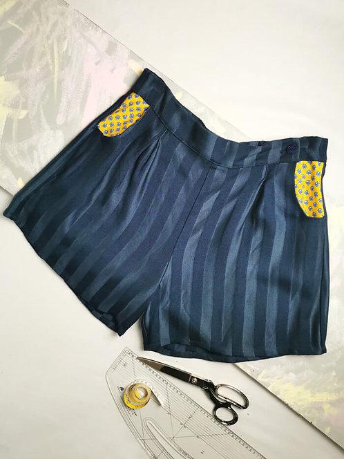 Navy Stripe High Waisted Shorts - Size 18