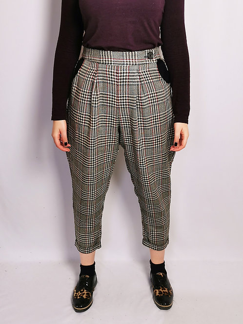 Large Check Peg Leg Trousers - Size 14