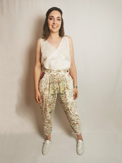 Cream Flowers Peg Leg Trousers - Size 16