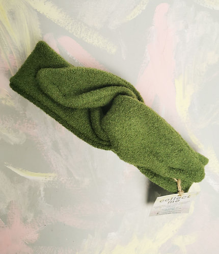 Cosy Knotted Headband - Green Wool