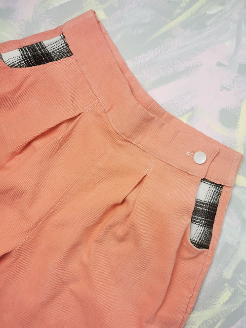 Pink Cord Peg Leg Trousers - Size 10