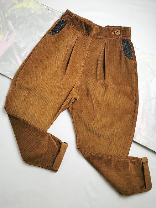 Camel Corduroy Peg Leg Trousers - Size 10
