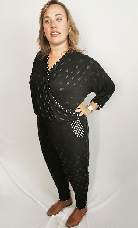 Black Polka Dot Dream Jumpsuit - Size XL