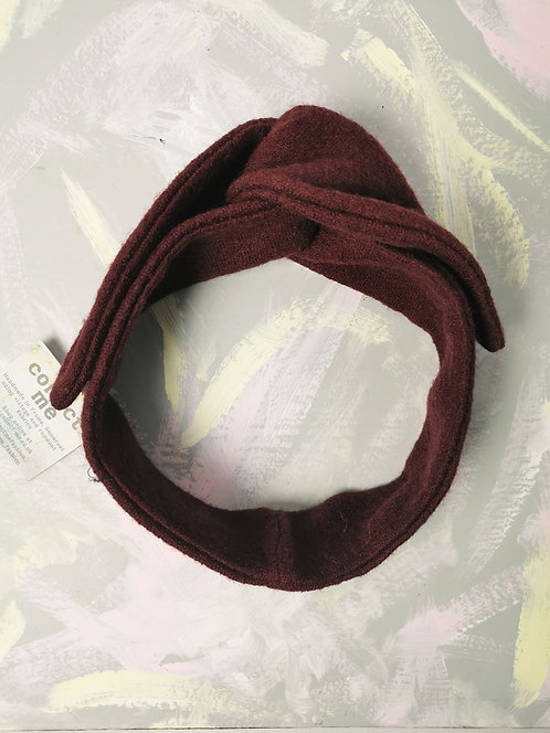 Cosy Knotted Headband - Burgundy Wool