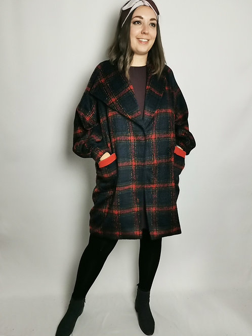 Navy Check Cocoon Coat - Size M/L