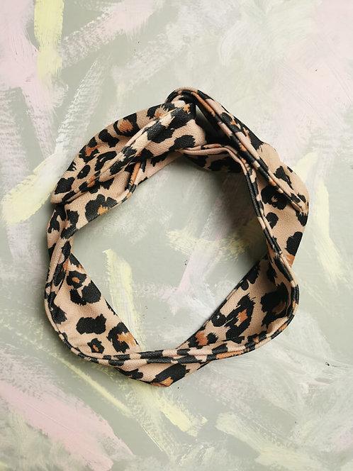 Knotted Headband - Brown Leopard Print