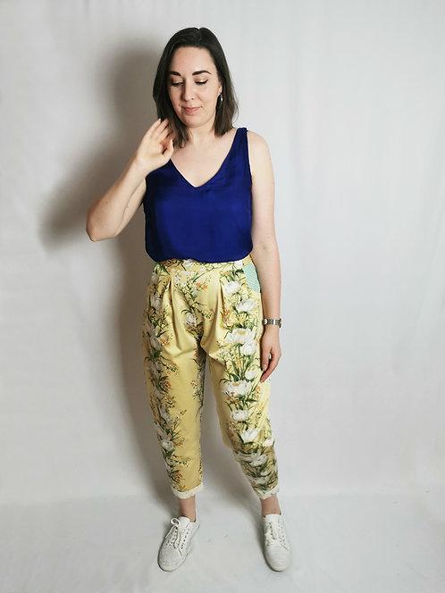 Yellow Flowers Peg Leg Trousers - Size 14