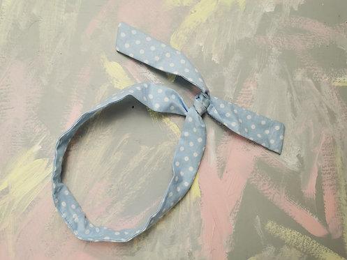Twisty Wire Headband - Baby Blue Spots