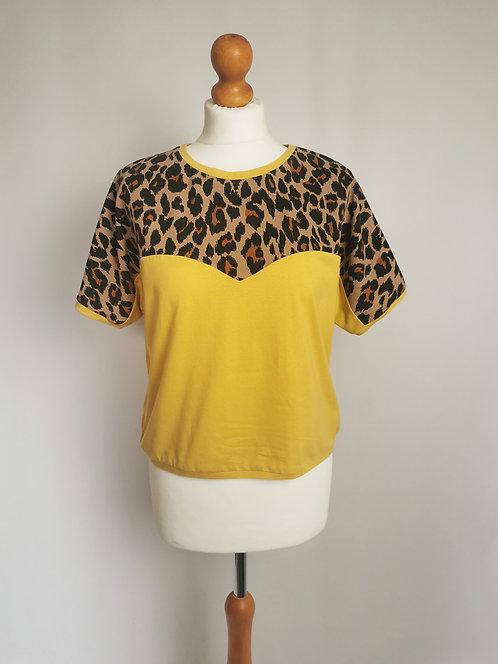 Leopard Print Heart T-Shirt - Size S