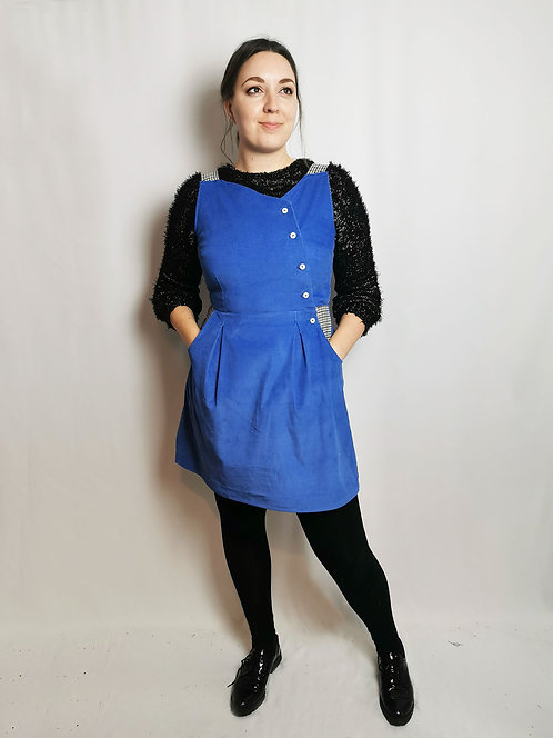 Blue Corduroy Pinafore Dress - Size 14