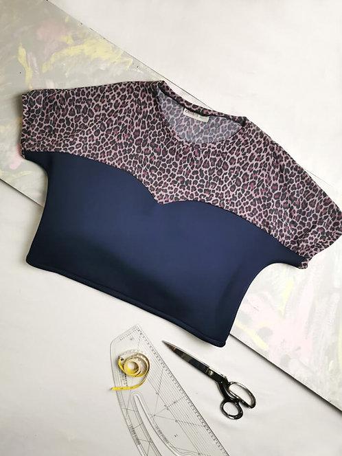 Navy Leopard Heart T-Shirt - Size L