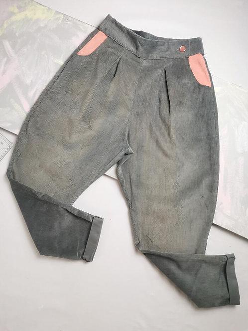 Grey Corduroy Peg Leg Trousers - Size 8