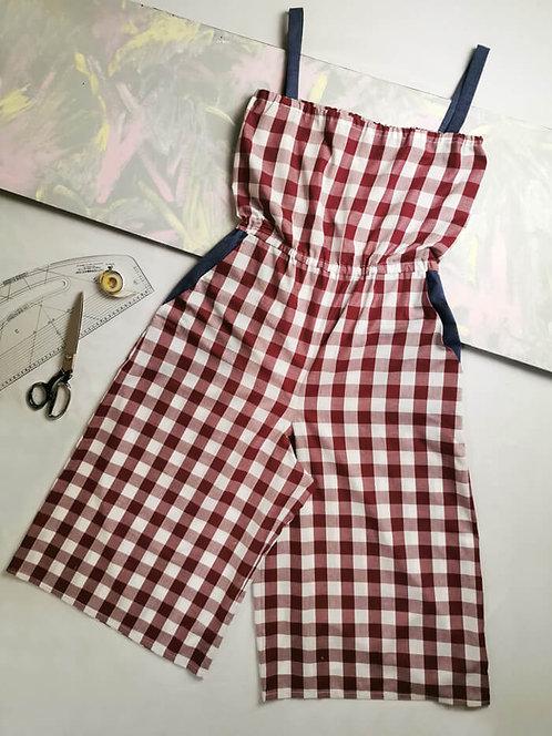 Maroon Gingham Culotte Jumpsuit - Size L