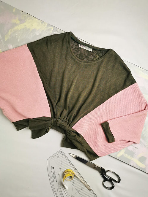 Khaki and Pink Loophole Jumper - Size S