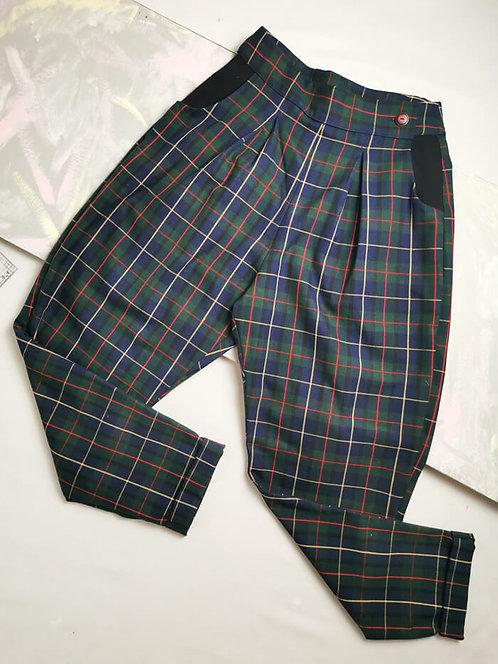 Tartan Peg Leg Trousers - Size 8