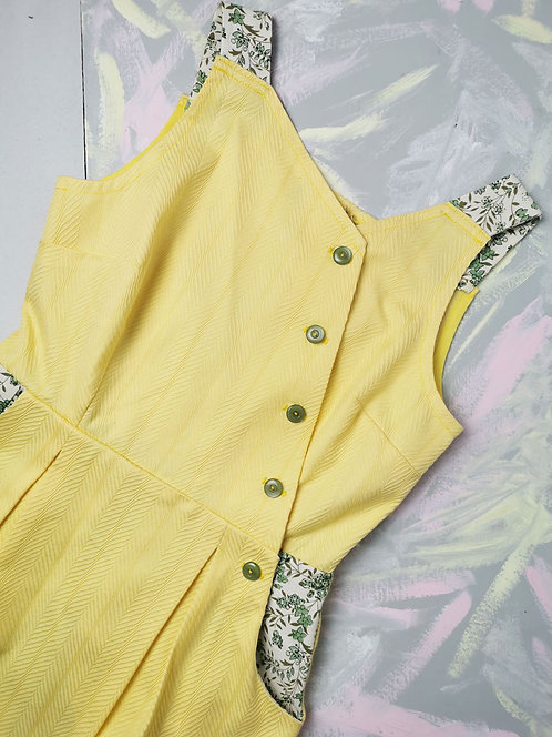 Yellow Cotton Pinafore Dress - Size 8