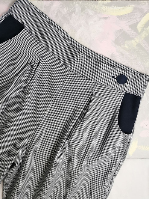Blue Dogtooth Peg Leg Trousers - Size 12