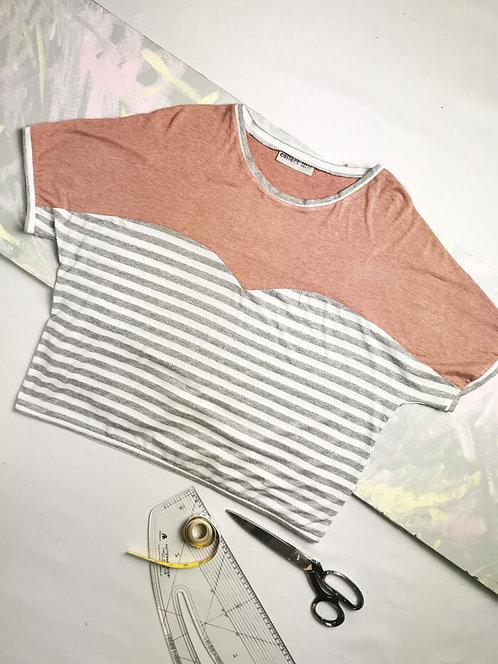Grey Stripe Heart T-Shirt - Size L