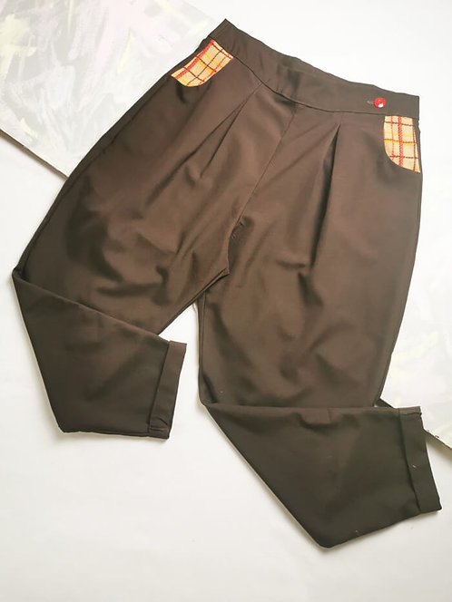 Chocolate Brown Peg Leg Trousers - Size 16