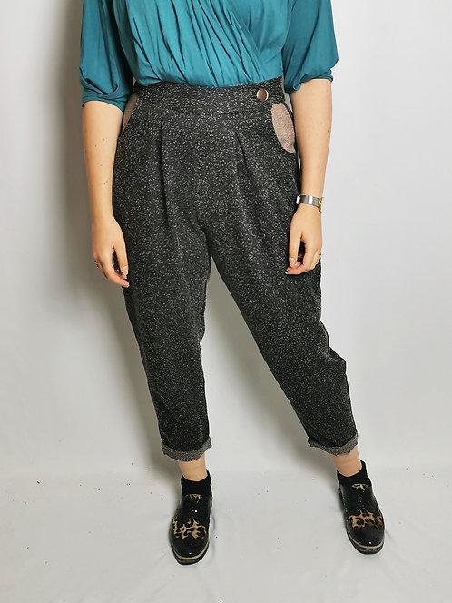 Black Speckle Peg Leg Trousers - Size 14