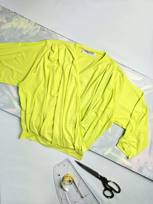 Chartreuse Yellow Dream Wrap Top - Size S