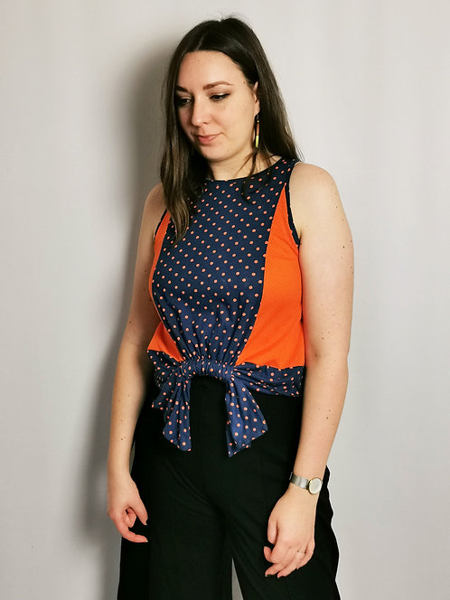 Orange Spots Loophole Vest - Size S/M
