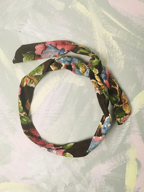 Twisty Wire Headband - Brown Flowers