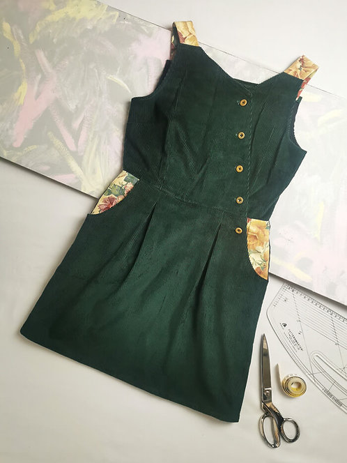 Forest Green Corduroy Pinafore Dress -Size 12