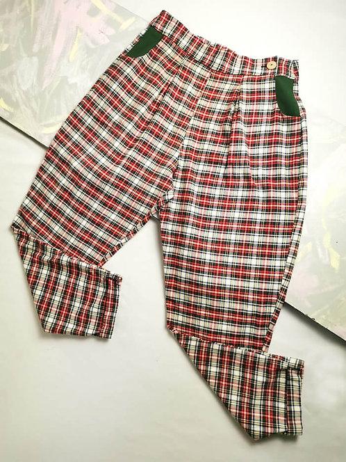 Red Check Peg Leg Trousers - Size 12