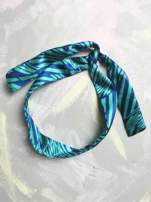 Twisty Wire Headband - Blue Satin