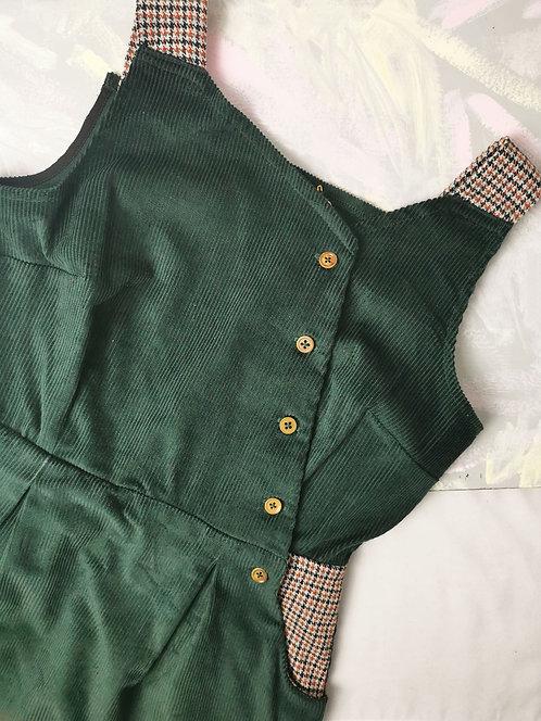 Green Corduroy Pinafore Dress -Size 12