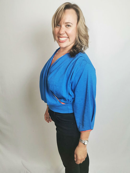 Cobalt Blue Dream Wrap Top - Size XL
