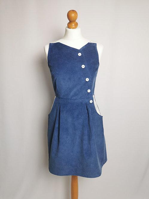Blue Corduroy Pinafore Dress - Size 8
