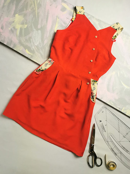 Vibrant Red Pinafore Dress - Size 6