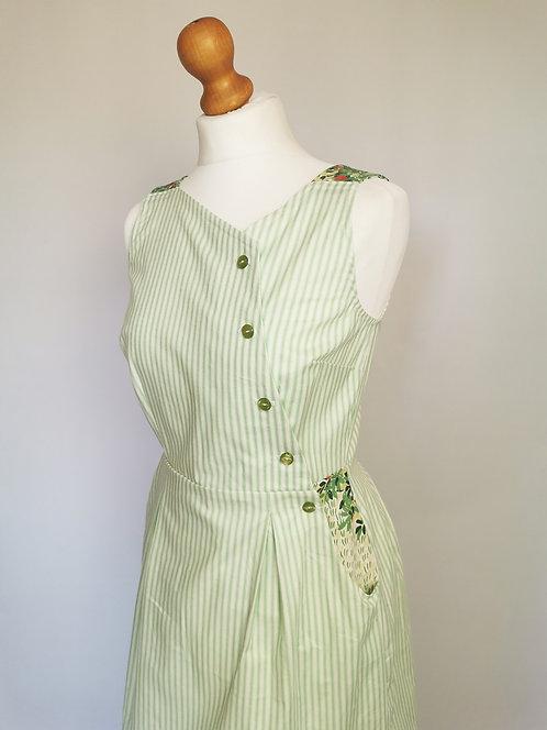 Green Ticking Stripe Pinafore Dress -Size 10