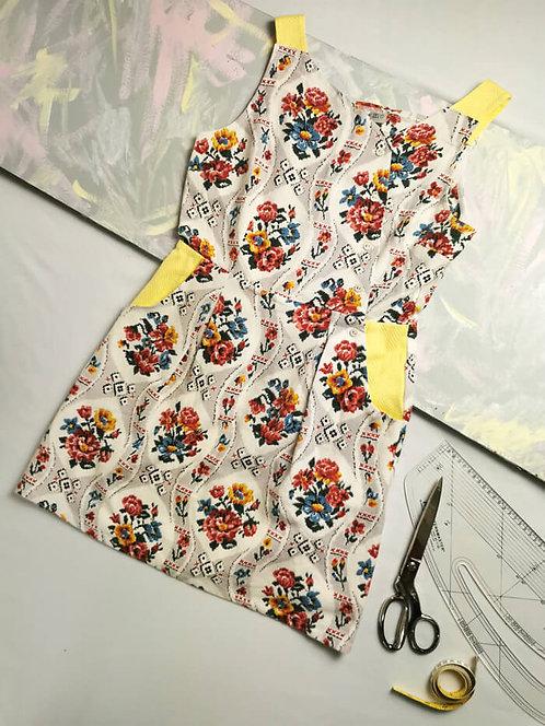 Floral Stitch Pinafore Dress -Size 12