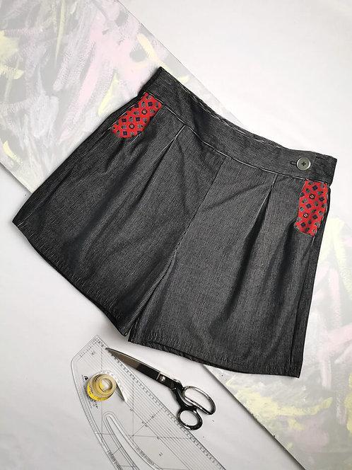 Grey Cord High Waisted Shorts - Size 16