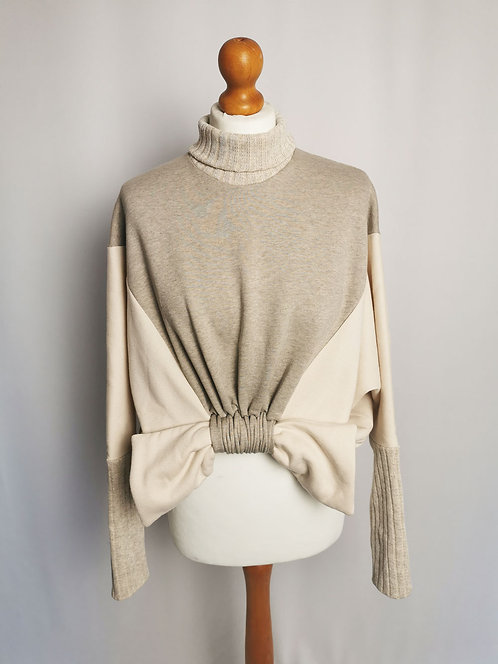 Neutral Shades Roll Neck Loophole Jumper - Size S