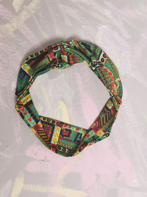 Knotted Headband - Green Abstract