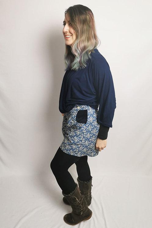 Denim Blue High Waisted Shorts - Size 8