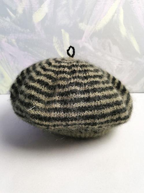 Handknitted Beret - Black Stripe