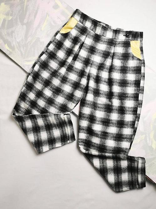 Monochrome Check Peg Leg Trousers - Size 12